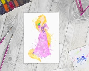 Disney Inspired Rapunzel Watercolour A5 Print