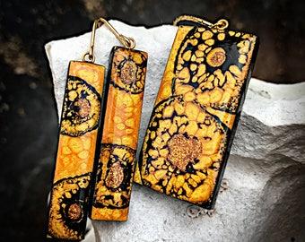 Hufflepuff Pride - Fetache Pendant & Dangle Earrings Set - Handmade Artistic Alchemy - Harry Potter Inspired OOAK Created Fantasy Stones