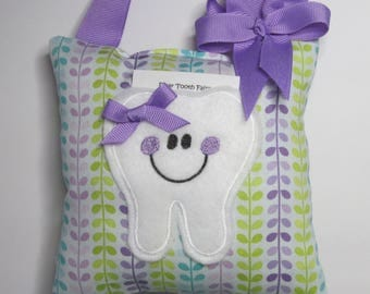 Tooth Fairy Pillow Purple/Aqua  Ready to Ship