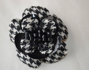 Black and White Houndstooth Flower Brooch with Black Patent Leather Like Accents