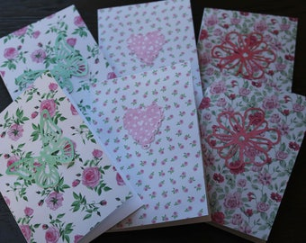 6 Pack of Handmade Notelets Cards with envelopes
