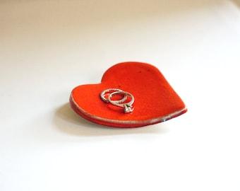 Heart Shaped Handmade Ceramic Red Jewelry Dish
