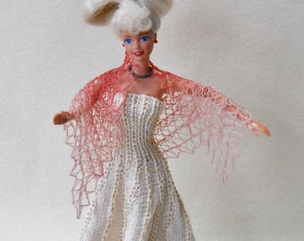hand knit, hand painted pale pink and dark pink lacy shawl for 11 1/2 inch fashion doll
