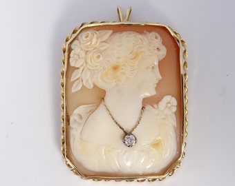 Antique Victorian Cameo Diamond Necklace