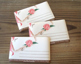 Vintage Dennison Pink Rose Gummed Deluxe Parcel Post Address Labels Large Rare (3)