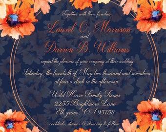 Sunflower watercolor Wedding Invitation Set 2017