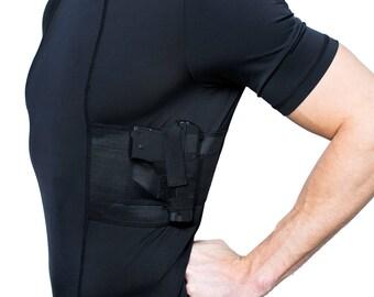 Men's Holster Shirt V-Neck Top - Concealed Carry Clothing for Gun Concealment - Compression