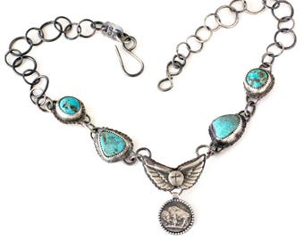 On A Wing And A Prayer Turquoise, Buffalo and Sterling Silver Necklace