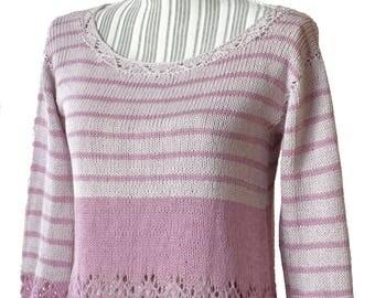 Knitted summer linen cotton  jumper/3/4 sleevs