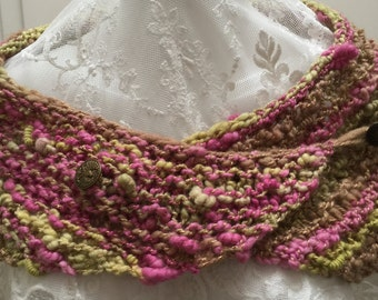 Scarf from kind of yarn with vintage buttons