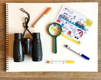 ADVENTURE KIT: 1 Search & Find Adventure Card, Binoculars, Magnifying Glass, Markers
