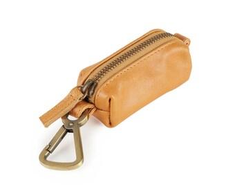 Topsail Pocket Pooper- Handcrafted Tan Leather Poop Bag Dispenser