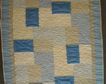 BASICALLY HUGS BLUE Baby Quilt Kit - Cheaper By The Half Dozen Pattern, Basically Hugs Collection by Red Rooster Fabrics, Grey & Blue Prints