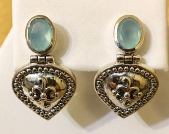 USA FREE SHIPPING!! Chalcedony and  Sterling Silver Earrings