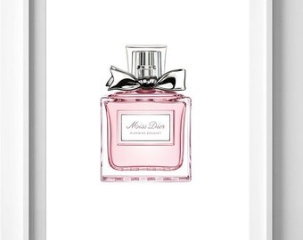 Poster poster miss dior perfume, original and feminine decoration for the House.