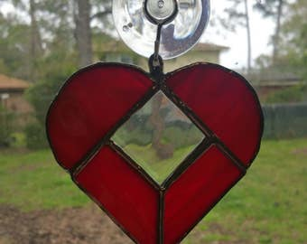 Lava Red Stained Glass Heart