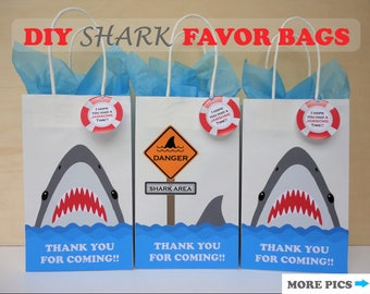 Shark FAVOR BAGS/ Shark Party Bags/ Shark Birthday Party/ decorations/ Boys Pool Party Favors/ Shark Goody bags/ Shark Attack Birthday