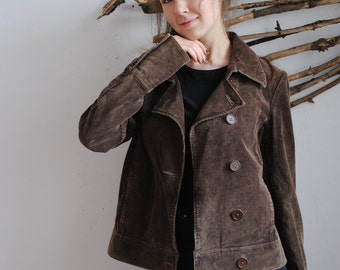 Vintage womens brown velvet jacket 1990s 1980s coat by InWear