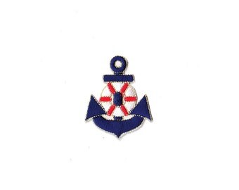 Anchor Patch - Blue Anchor Embroidered Iron Patch / Anchor Applique