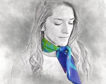 CENTER printed scarf, bandana, scarf, gift for her, colorful scarf, rainbow scarf, multicolor scarf, cotton scarf, neck scarf