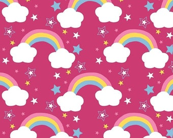 Jersey fabric Cotton Jersey rainbow pink fabric 0, 50 m