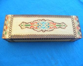 Vintage Wood Burning Design Trinket Box wood Trinket Box Desk Accesory Collectible Jewelry Box Hand made