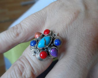 Ring stones, turquoise, coral, Lapis Lazuli Silver 925