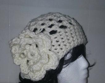 Floral Spring Hat - White Spring Hat - Light Flower Hat - Airy Hat