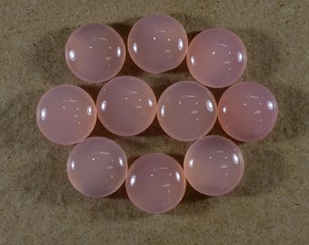 Natural Rose Chalcedony Round 5 Pcs - 15x15x6 mm Gemstone Cabochon Supplies - natural gemstone - Wholesale Loose Gemstone For Making Jewelry