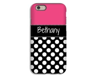 Polka dot iPhone 7 Plus case,  iPhone 7 case, personalized iPhone 6s/6s Plus/6/6 Plus/5s/5/SE case, girls iPhone case, 3D iPhone cover