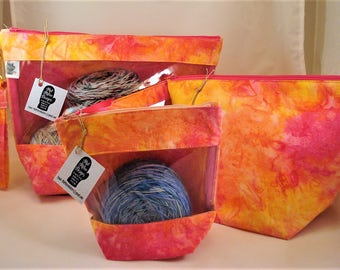 "Knitting Project Bag, Zippered Project Bag, Wedge Bag, Yarn Tote Bag, Yarn Bag, Knitting bag, ""Sunrise Batik"""