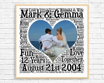 PERSONALIZED 12TH ANNIVERSARY Gift ~ Word Art ~ Printable Art ~ Unique Anniversary gift ~ 12 Year Wedding Anniversary Gift ~ Unique Gift