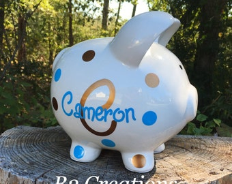 Personalized Piggy Bank, Ceramic Piggy Bank, Custom Large Piggy Bank, Boy Piggy Bank, Kids Piggy Bank, Christmas in July