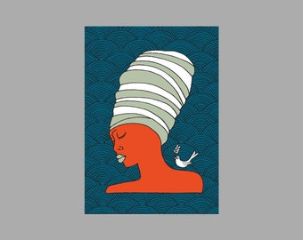 A4 Print: African Lady Orange and Blue