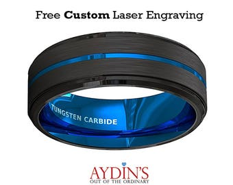 Mens Wedding Band 8mm Black Brushed Tungsten Ring Thin Blue Groove Step Edge Comfort Fit Tungsten Carbide Wedding Ring