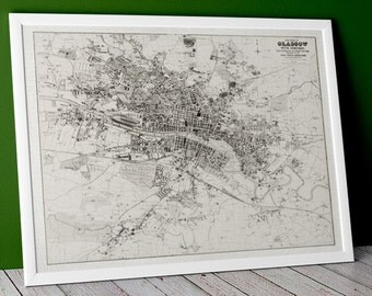Huge Old Town Plan of Glasgow, 1888 Central Scotland | Fine Art Giclée Print of old Glasgow Poster Glaswegian, Clyde, Scottish City > 1888's