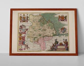 Huntingdonshire   Fine Art Giclée Reproduction   Antique Map of Huntingdoniensis Comitatvs from Blaeu's Atlas Major