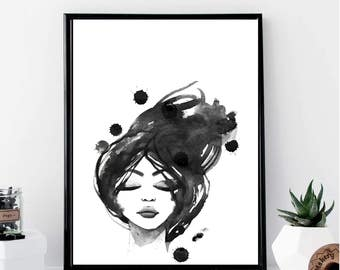 Fashion Girl Black and White Watercolor Print // Minimalist // Wall Art // Office DIY // Scandinavian // Modern Office // Fashion // Makeup