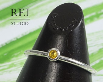 Natural Citrine Silver Ring, 2 mm Round Cut Yellow Citrine Stacking Ring, Sterling Stacker Citrine Classic Ring, Genuine Citrine Simple Ring