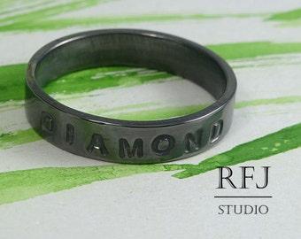 Personalized Black Silver Band, Custom Band, Blackened Band, Pet Name Ring, Dog Name Ring, Cat Name Ring, Phrase Band Ring, Memorial Ring