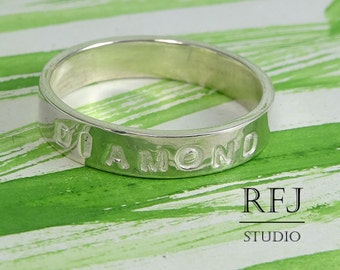 Custom Silver Band, Personal Ring, Name Band, Grandmothers Ring, Kid Ring, Children Name Ring, Mothers Day Gift, Mom Gift, Son Daughter Name