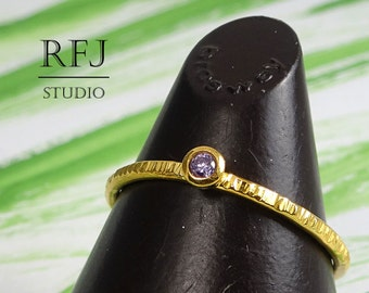 Amethyst 24K Gold Textured Ring, February Birthstone 24K Yellow Gold Plated Ring 2mm Purple CZ  Gold  Ring Gold Amethyst Birthstone Ring