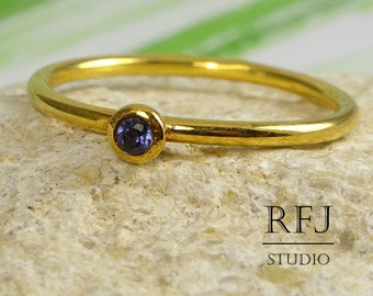 Yellow Gold Plated Natural Iolite Ring, Genuine Iolite 24K Gold Plated Stacking Ring, 2mm Round Cut Iolite Gold Ring Blue Earth Mined Iolite