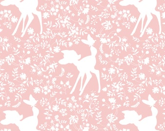 "New Camelot Disney Bambi Silhouette in Pink Rose Quartz - Deer Bambi and butterflies Floral 100% Cotton Fabric by the yard 36""x43"" (CA307)"