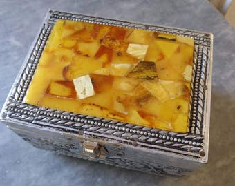 Vintage Baltic amber source box