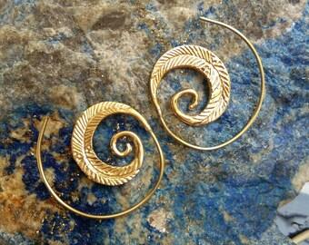 Tribal Brass Earrings. Spiral Hoop Earrings. Brass Tribal Earrings. Boho Earrings. Gypsy Hoop Earrings. Ethnic Earrings. Indian Jewelry.