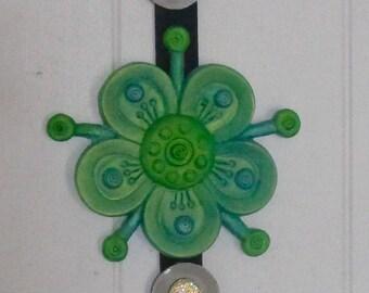 funky green flower wall sculpture ~ wall decor ~ sculpted feng shui wall art ~ home decor