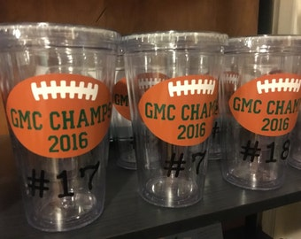 Customized Football Tumbler, Football Team Gift, Championship Cups