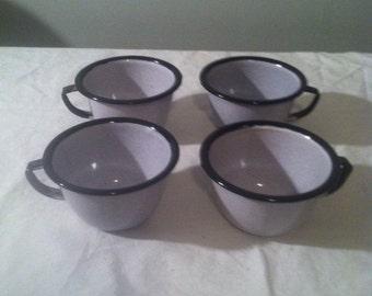 Set of FOUR Vintage Porcelain Lined Metal Cups