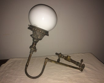 Antique Wall Mount Gas Lamp with Globes